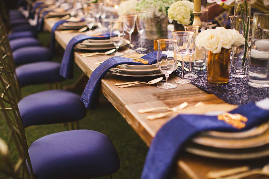 Picture from Sarah and Justice's wedding highlighting the table decor and impeccable placement. - Sarah and Justice wedding pic6