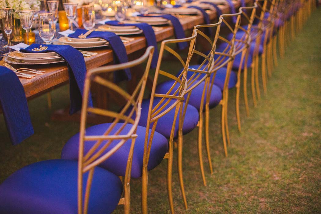 Picture of the matching blue chairs and accents from Sarah and Justice's wedding. - Sarah and Justice wedding pic7