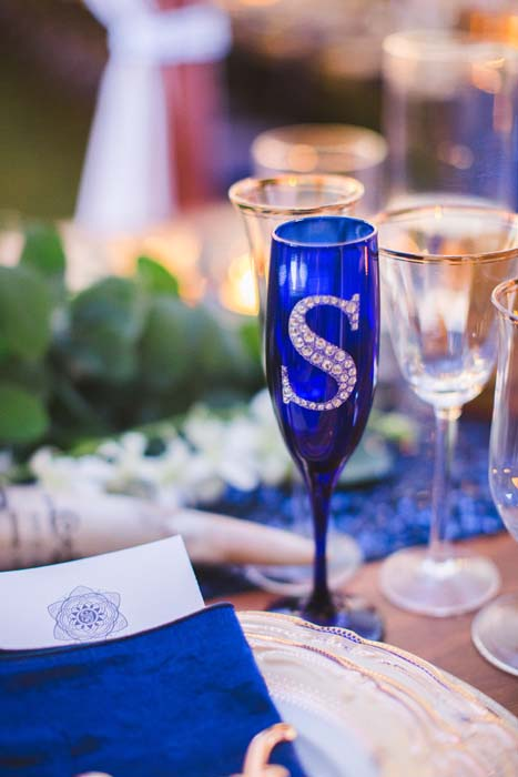 Picture of the deep blue toasting flute from Sarah and Justice's Cabo wedding. - Sarah and Justice wedding pic13