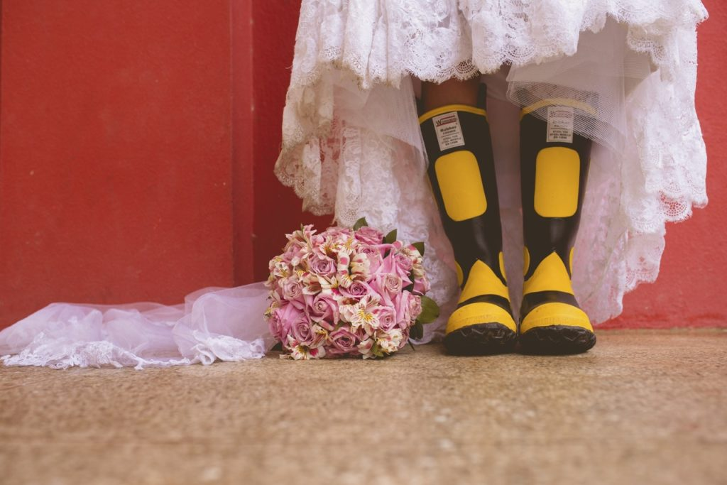 rubber boots wedding dress in cabo